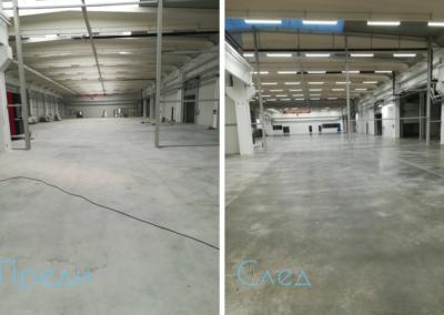 Почистване на индустриално хале преди и след