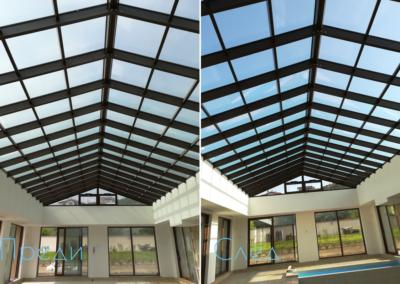 Почистване на покривни стъкла преди и след