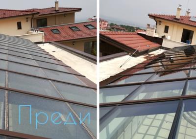 Почистване на стъклен покрив преди и след