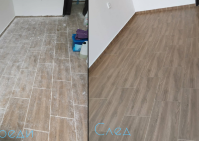 Почистване на под преди и след